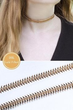 18k Gold Filled Chain Necklace Rose Gold Chain Necklace for Woman #fashion #jewelry #goldchaim