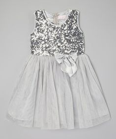 This Silver Sequin Bow Dress - Toddler & Girls is perfect! #zulilyfinds