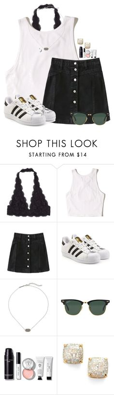 """""""Black and White"""" by annaewakefield ❤ liked on Polyvore featuring Hollister Co., adidas Originals, Kendra Scott, Ray-Ban, Bobbi Brown Cosmetics and Kate Spade"""
