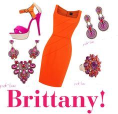 """""""Brittany ensemble from Jewels by Park Lane with Orange dress"""" by carolynsbling on Polyvore"""