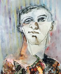 The layering of marks is a way of building and reflecting on experience – capturing presence and suggesting an absence or loss of being through obliterating the surface. The development of a person… Figure Painting, Figure Drawing, Collage Art, Collages, Distortion Art, Surface Art, Ap Studio Art, Abstract Faces, Ap Art