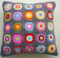 25 colors in grey granny square cushion cover   Flickr - Photo Sharing!
