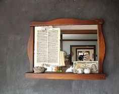 Vintage Wooden Mirror by therhubarbstudio on Etsy, $35.00