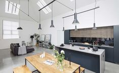 A minimalist contemporary modern kitchen design has been used in this conversion project Minimalist Kitchen Furniture, Minimal Kitchen Design, Kitchen Design Open, Open Concept Kitchen, Open Plan Kitchen, Kitchen Modern, Kitchen Dining, Kitchen Decor, Contemporary Small Kitchens