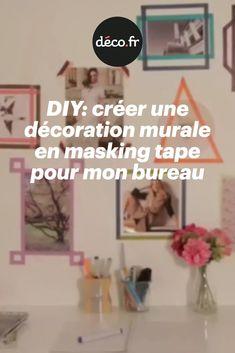 Vous avez envie de décorer votre bureau avec une décoration murale originale, mais vous manquez légèrement d'inspiration ? Ça tombe bien ! Voici un tuto en vidéo qui va vous donner un moyen rapide et efficace pour personnaliser votre bureau : créer une accumulation de cadres colorés et uniques, réalisés à partir de masking tape ! Tapas, Masking Tape, Decoration, Voici, Diy, Inspiration, Home Decor, Colorful Frames, Wall Art