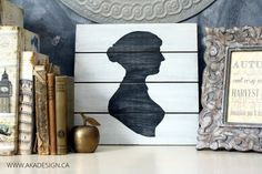 Jane Austen Silhouette Art | Using Card Stock as a Stencil - http://akadesign.ca/jane-austen-silhouette-art-using-card-stock-as-a-stencil/ #SilhouetteCAMEO @SilhouettePins