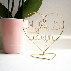Gold cake topper that you can still display after the wedding! 10th Floor Treasures on Etsy
