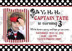 Pirate Birthday Photo Invitation 5x7 - Print Your Own on Etsy, $15.00