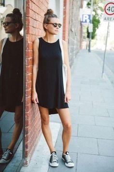black jersey dress, black converse