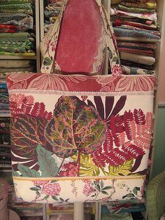 Tote inspiration. Made from vintage barkcloths, satin brocades, and trim.