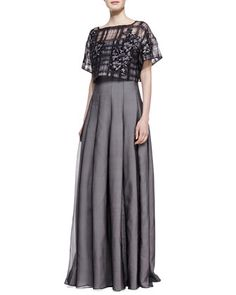 Strapless+Gown+with+Pop+Top,+Black/Pale+Pink+by+Tadashi+Shoji+at+Neiman+Marcus.  If it can be shortened