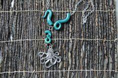 Octupus pendente in acciaio con tentacoli in polymer clay