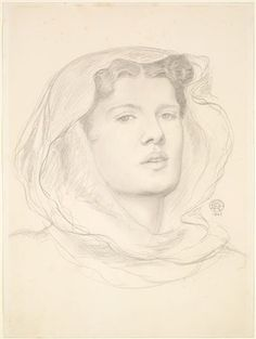 The Beloved - Study of a Female Head by Dante Gabriel Rossetti. Girl's head, turned slightly to right. Hair is covered. Portrait Sketches, Drawing Sketches, Art Drawings, Dante Gabriel Rossetti, Medieval, Silverpoint, Pre Raphaelite Brotherhood, Edward Burne Jones, Birmingham Museum