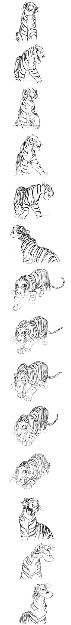 """""""Shere Khan"""" by Milt Kahl* • """"The Jungle Book""""   © Walt Disney Animation Studios*  • Blog/Website   (www.disneyanimation.com) • Online Store    (http://www.disneystore.com) ★    CHARACTER DESIGN REFERENCES (https://www.facebook.com/CharacterDesignReferences & https://www.pinterest.com/characterdesigh) • Love Character Design? Join the #CDChallenge (link→ https://www.facebook.com/groups/CharacterDesignChallenge) Promote your art in a community of over 25.000 artists!    ★"""