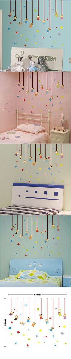 Colorful Star Cartoon Animal Little Bear Decal Children DIY Removable Wall Stickers Parlor Kids Bedroom Home House Decoration
