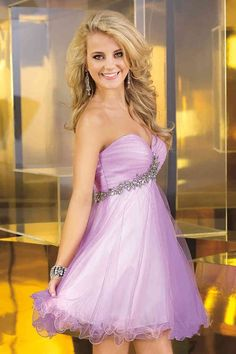 Sweetheart Short Purple Tulle A Line Homecoming Dress With Pleating #homecomingdresses