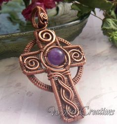 Celtic Cross Wire Wrapped Pendant in Copper and Amethyst
