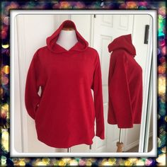 "NWOT sweatshirt w/hoodie Never worn. Mark size M but might fit size L or to XL as well. Soft quality of 100% polyester and its stretch. Body length 27"". Sleeve length almost 23"". Armpit to armpit 22"" across relax measurement & can stretch to 26"" across. Lady foot locker sport Sweaters"