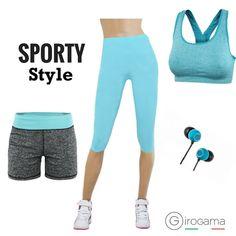Sporty Style Leggings Corti Stretch 3693PT Shorts Sportivo Fitness 3755B Top Elasticizzato Fitness 1994TS