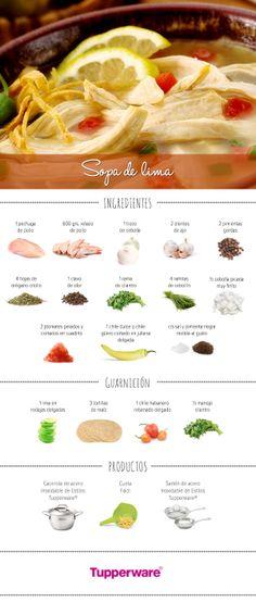 La sopa de lima es uno de los platillos más saludables, deliciosos y fáciles de preparar. ¡Hazla con Tupperware! #Recetas #Tupperware #Cocina