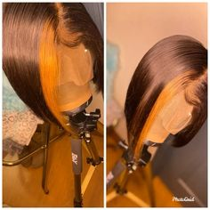 Blonde peek a boo bob Angled Bob Hairstyles, Hairstyles With Bangs, School Hairstyles, Easy Hairstyles, Bts Hairstyle, Baddie Hairstyles, Curly Hair Styles, Natural Hair Styles, Wig Styles