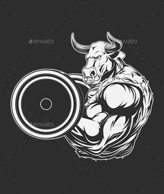 Buy Ferocious Bull by on GraphicRiver. Vector illustration of a ferocious bull raises the barbell on biceps Vector graphics Install any size without loss of. Vector Graphics, Vector Art, Shiva Tattoo Design, Strongest Animal, Perfect Physique, Bull Tattoos, Bodybuilding Supplements, Barbell, Beast