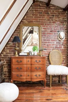 You'll Swoon Over This Small DC Rowhouse's Exposed Brick & Beams — House Call