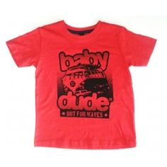 Rood T-shirt  'Out for waves' - Babydude