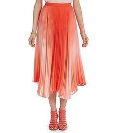 Vince Camuto Asymmetrical Pleated ALine Midi Skirt #Dillards