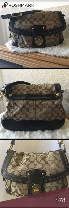 """Coach Signature Legacy Ali Flap Shoulder Bag 10340 Coach Signature Legacy Ali Flap Shoulder Bag Style: 10340 Measurements: 13"""" long 10"""" tall, 4"""" wide Hardware: Brass  Color: Khaki with Brown C's  Black/Brown Leather Trim and Shoulder Strap  Front Flap with Turn Lock Closure  Slip Pocket Under Flap  Front Turn Lock Closure Has Some Scratches  Shoulder Strap is Adjustable and has 9"""" drop  Legacy Stripe Interior Lining  2 Slip Pockets 1 Zipper Pocket  D Ring for Keys  Good Pre Owned Condition…"""