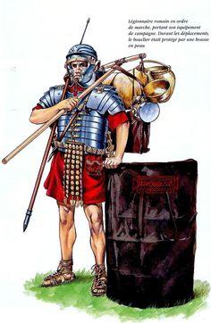Римский легионер с походным снаряжением, конец I века н.э.