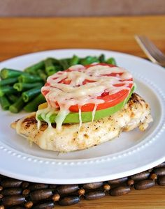 Avocado Chicken --~~>>Very healthy. Avocados are so good for you, and when you top it with a tomato and a bit of melted cheese...even better