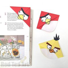 Angry Bird Corner Bookmarks - simple and fun to make! Cute!