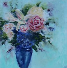 Blue flowers.  Palette knife. This is a match made in heaven, right here! This beauty couldn't have found a better place. Not just of how she combines the aesthetics surrounding her, but this lady found herself the most amazing home and I feel so honored to be a part of it in this way. All my love.