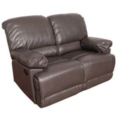 CorLiving Lea Bonded Leather Reclining Loveseat Brown - LZY-321-L