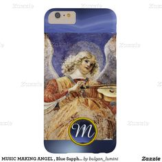 MUSIC MAKING ANGEL , Blue Sapphire Monogram Barely There iPhone 6 Plus Case