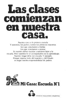 """""""Las clases comienzan en casa""""-1982"""
