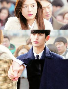 """Hide only when you've done something wrong. Don't just hide anytime"". // Kim Soo Hyun and Jun Ji Hyun in You Who Came From Another Star #kdrama"
