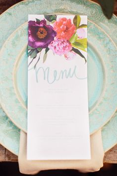 Turquoise table setting with floral menu card #turquoise #turquoisewedding #weddingdecor #menucard #reception