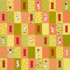 "Two-Block Citrus Quilt..Use setting rectangles grouped by color families to create diagonal patterns across a quilt top. Finished quilt: 60-1/2"" square Finished block: 6x10"""