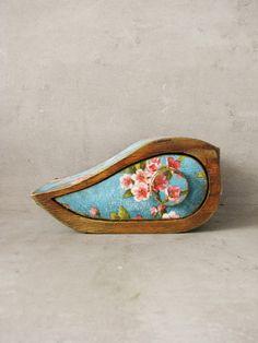 Jewelry storage keepsake drawer vintage wooden box, FREE SHIPPING, Mini box, birds, flowers, blossoming tree