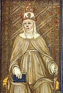 Pope Joan, tarot card.  9th century Roman scribe named Anastasius Bibliothecarius tells the story of a woman who, after passing herself off as a man - was elected Pope! The scribe's account is today classified by the Vatican as a blasphemous, apocryphal fable, but other writers after Bibliothecarius have also recorded more detailed accounts of 'Pope Joan' - as she was allegedly known.