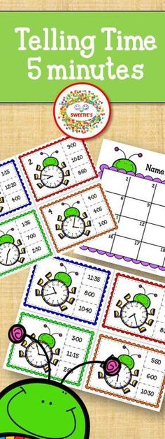 Task cards to learn to tell time set to 5 minute increments!    So much fun for a math center or for early learners!  #mathgames #teacherspayteachers