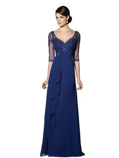 Fenghuavip V-neck Half Sleeves Floor Length Blue Bridal Mother Dress for Wedding >>> Awesome product. Click the image : Mother of the Bride