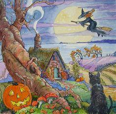 """Return Flight Storybook Cottage Halloween Series"" - Original Fine Art for Sale - � Alida Akers"