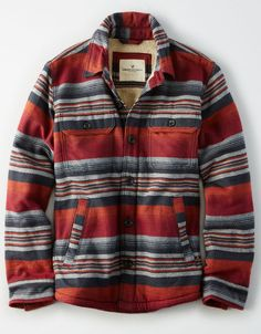 f2c4f275b Details about American Eagle Southwestern Sherpa Lined Rugged Twill Shirt  Jacket Men s S