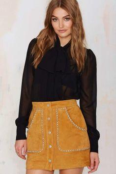 Nasty Gal Ladyland Suede Skirt - Tan