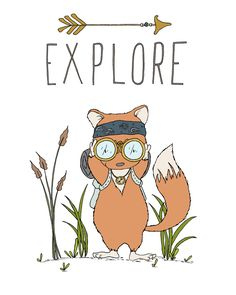 Fox Ready To Explore, Woodland Nursery Art -- by Sweet Melody Designs