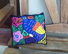 Panamanian Mola Pillow - Blue Bird