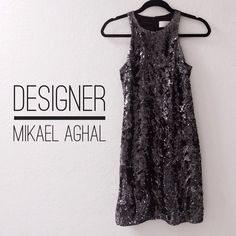 MIKAEL AGHAL SEQUIN PROM DRESS Reduced! Black sequin dress by designer Mikael Aghal. Perfect for prom or formal events.   Only worn once then professionally dry cleaned. In excellent condition.   Sequins are in a unique and classy swirl pattern, distinguishing it from other dresses that are seemingly similar.   Lining is 100% silk.   The length of the dress from the top of the shoulder to the bottom is 34 inches. I'm 5'3 and it hits me just below the knee. Mikael Aghal Dresses